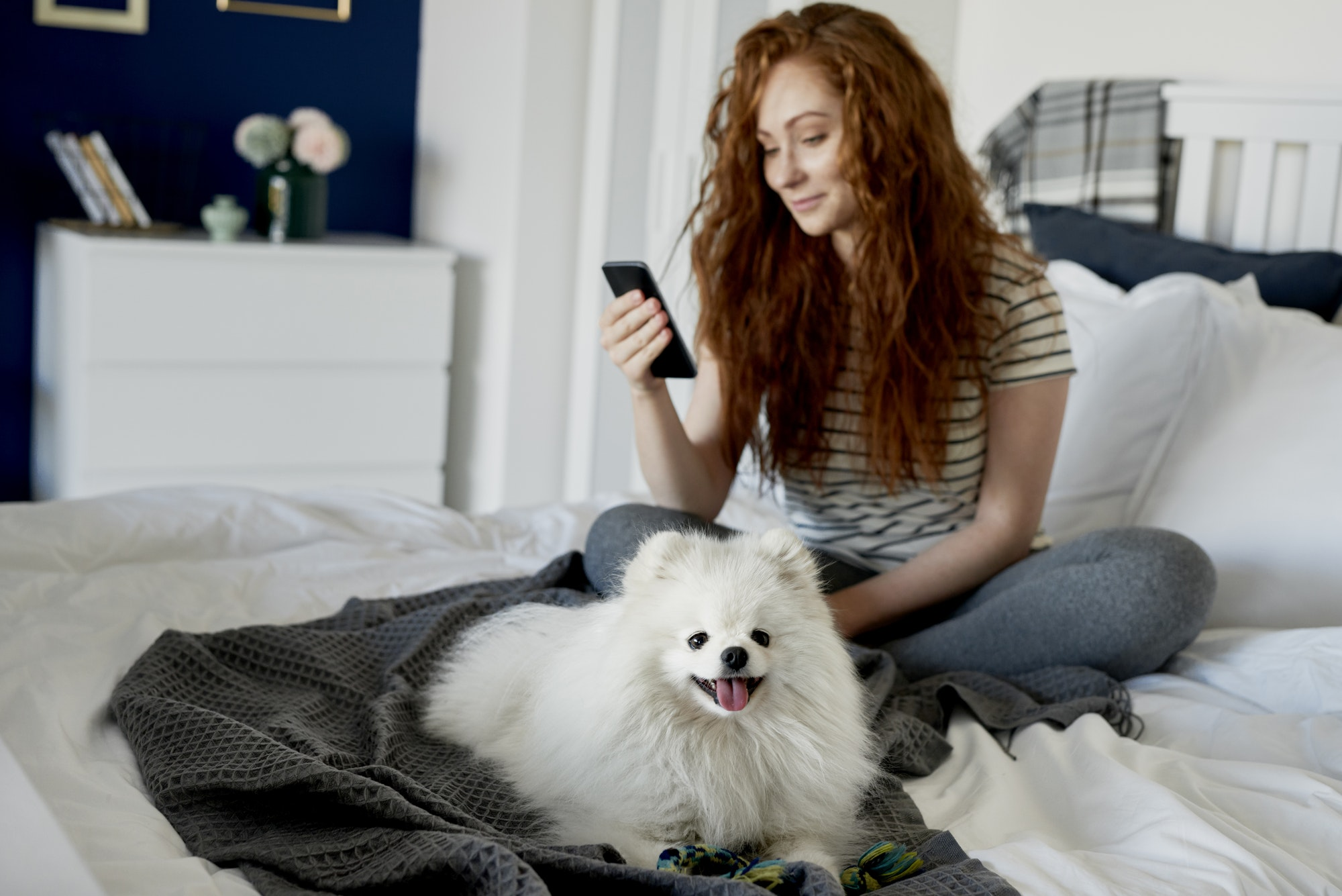 Dog and his female owner on the bed
